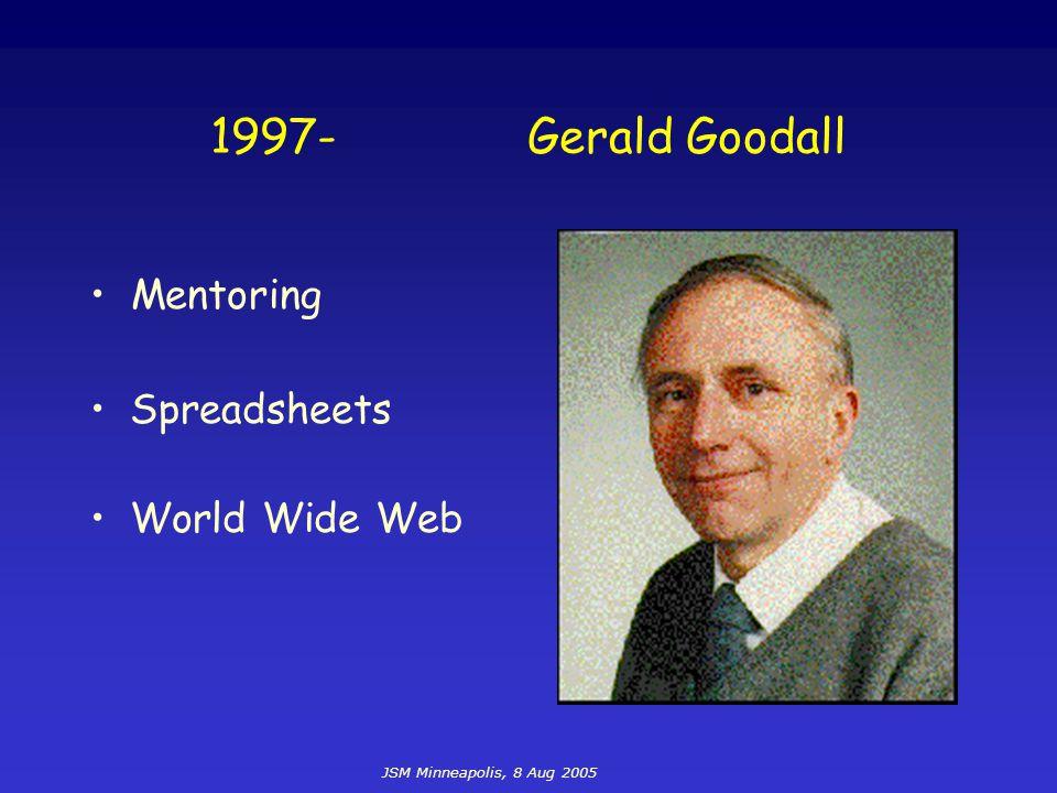 JSM Minneapolis, 8 Aug 2005 1997-Gerald Goodall Spreadsheets World Wide Web Mentoring
