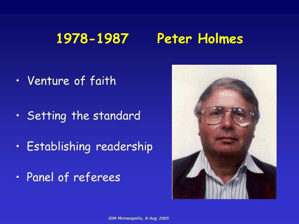JSM Minneapolis, 8 Aug 2005 1978-1987 Peter Holmes Setting the standard Establishing readership Panel of referees Venture of faith