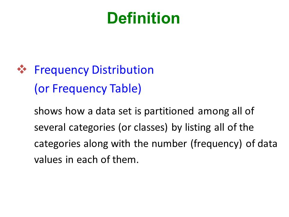  Frequency Distribution (or Frequency Table) shows how a data set is partitioned among all of several categories (or classes) by listing all of the categories along with the number (frequency) of data values in each of them.