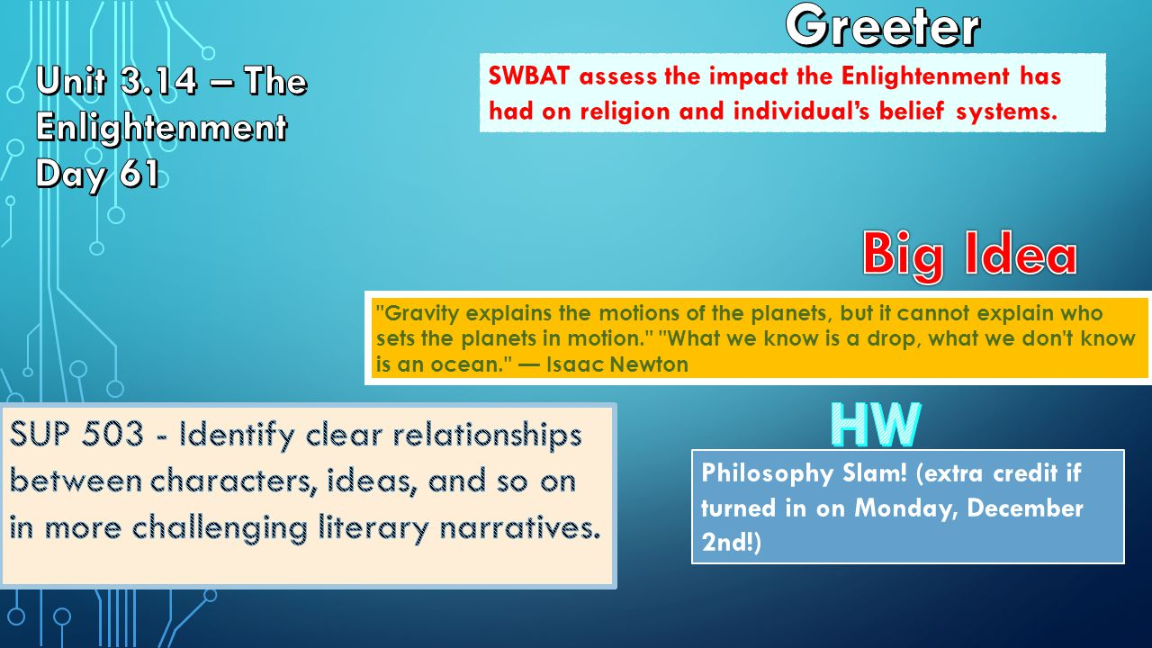 SWBAT assess the impact the Enlightenment has had on religion and individual's belief systems.