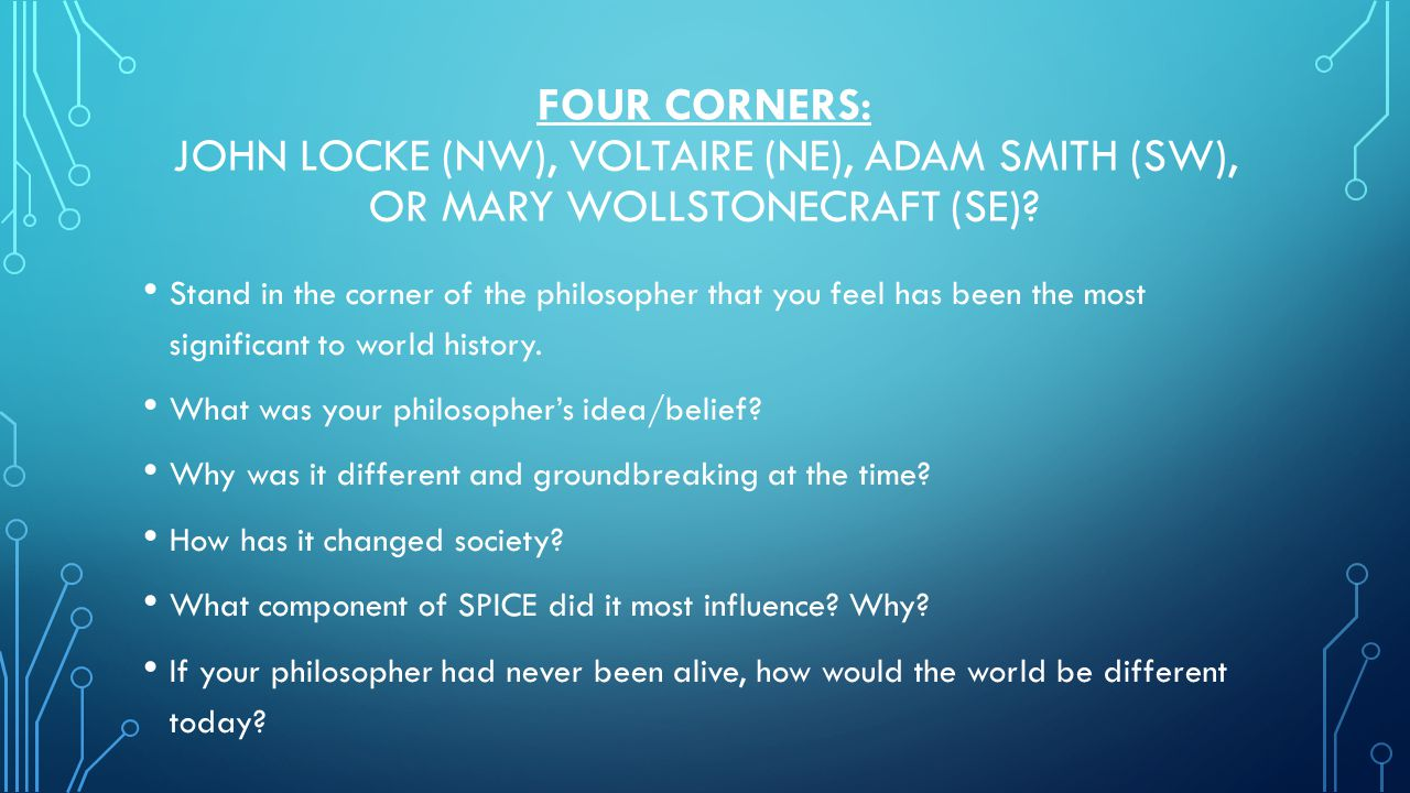 FOUR CORNERS: JOHN LOCKE (NW), VOLTAIRE (NE), ADAM SMITH (SW), OR MARY WOLLSTONECRAFT (SE)? Stand in the corner of the philosopher that you feel has b