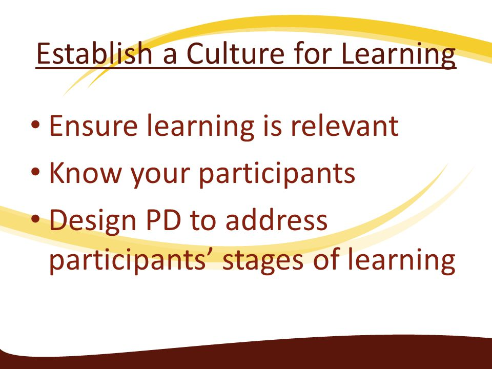 Establish a Culture for Learning Ensure learning is relevant Know your participants Design PD to address participants' stages of learning