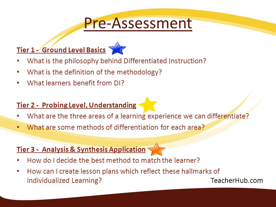 Pre-Assessment Tier 1 - Ground Level Basics What is the philosophy behind Differentiated Instruction? What is the definition of the methodology? What