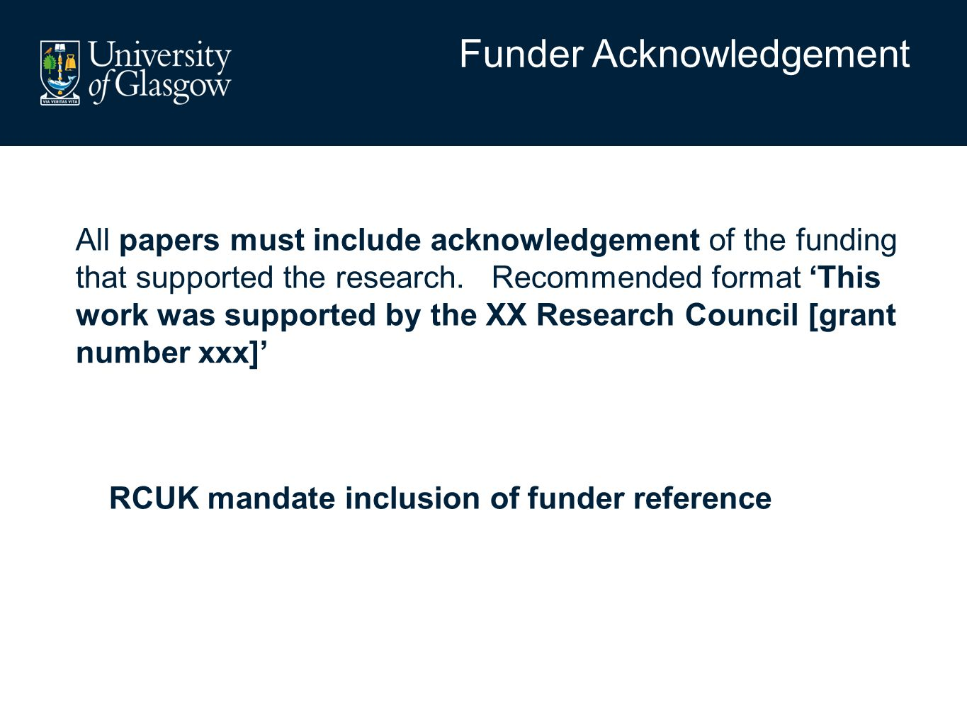 All papers must include acknowledgement of the funding that supported the research.