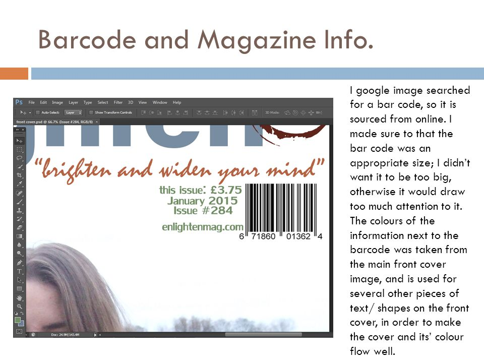 Barcode and Magazine Info. I google image searched for a bar code, so it is sourced from online.