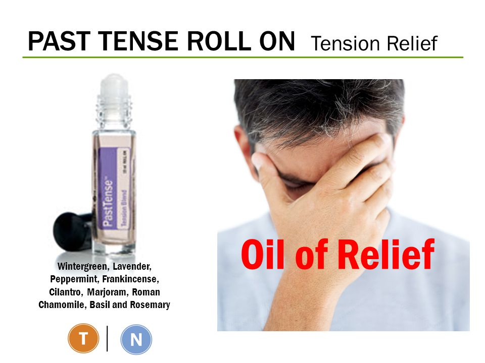 PAST TENSE ROLL ON Tension Relief Wintergreen, Lavender, Peppermint, Frankincense, Cilantro, Marjoram, Roman Chamomile, Basil and Rosemary Oil of Reli