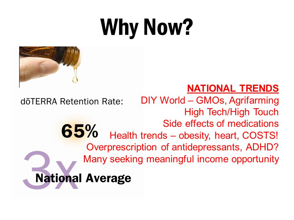 Why Now? NATIONAL TRENDS DIY World – GMOs, Agrifarming High Tech/High Touch Side effects of medications Health trends – obesity, heart, COSTS! Overpre