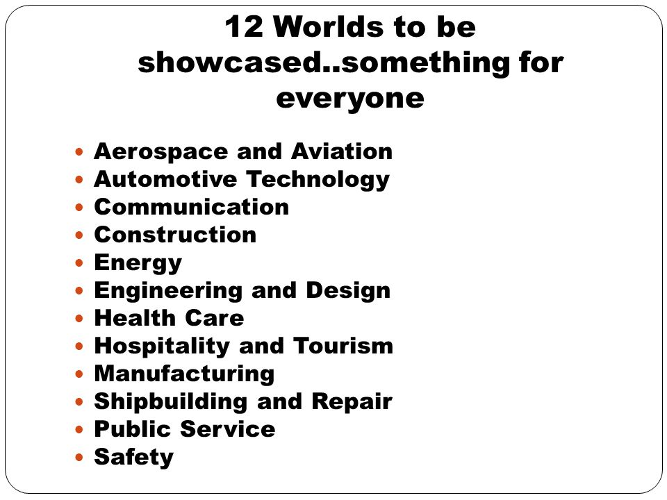 12 Worlds to be showcased..something for everyone Aerospace and Aviation Automotive Technology Communication Construction Energy Engineering and Design Health Care Hospitality and Tourism Manufacturing Shipbuilding and Repair Public Service Safety