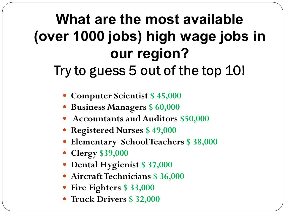 What are the most available (over 1000 jobs) high wage jobs in our region.