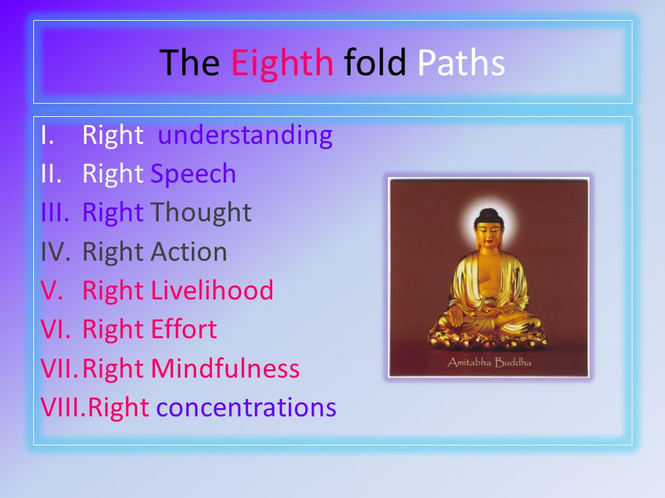 The Eighth fold Paths I.Right understanding II.Right Speech III.Right Thought IV.Right Action V.Right Livelihood VI.Right Effort VII.Right Mindfulness VIII.Right concentrations