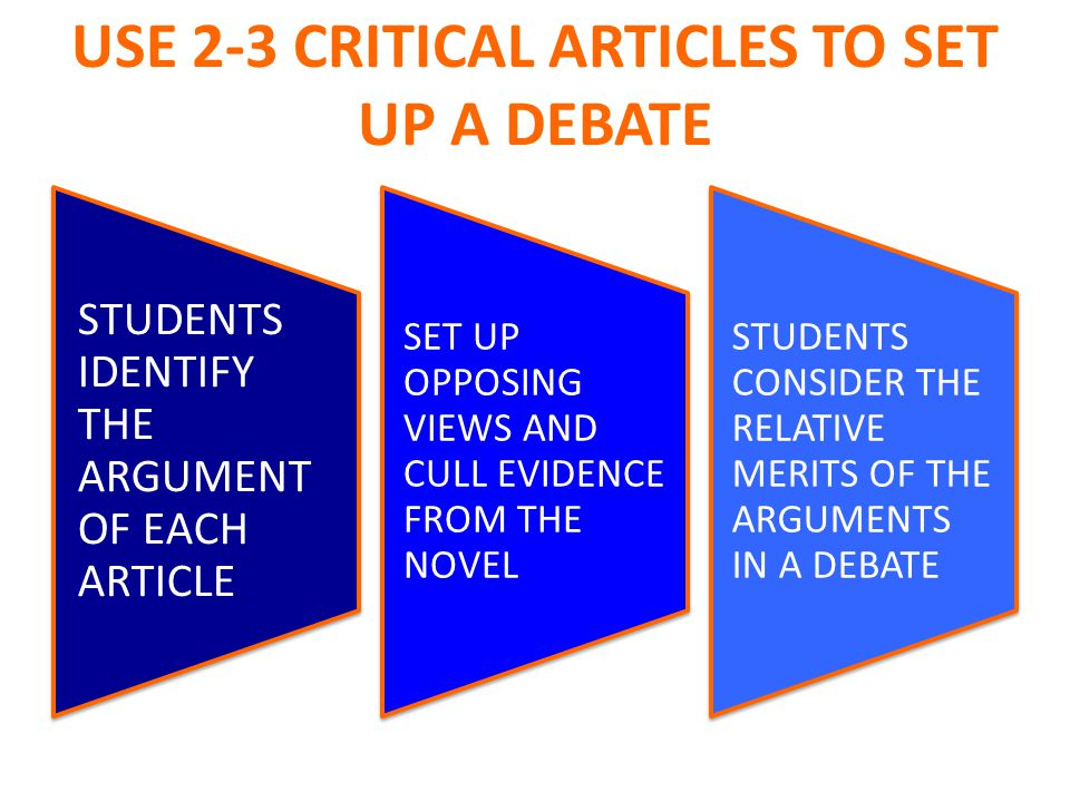 USE 2-3 CRITICAL ARTICLES TO SET UP A DEBATE STUDENTS IDENTIFY THE ARGUMENT OF EACH ARTICLE SET UP OPPOSING VIEWS AND CULL EVIDENCE FROM THE NOVEL STUDENTS CONSIDER THE RELATIVE MERITS OF THE ARGUMENTS IN A DEBATE