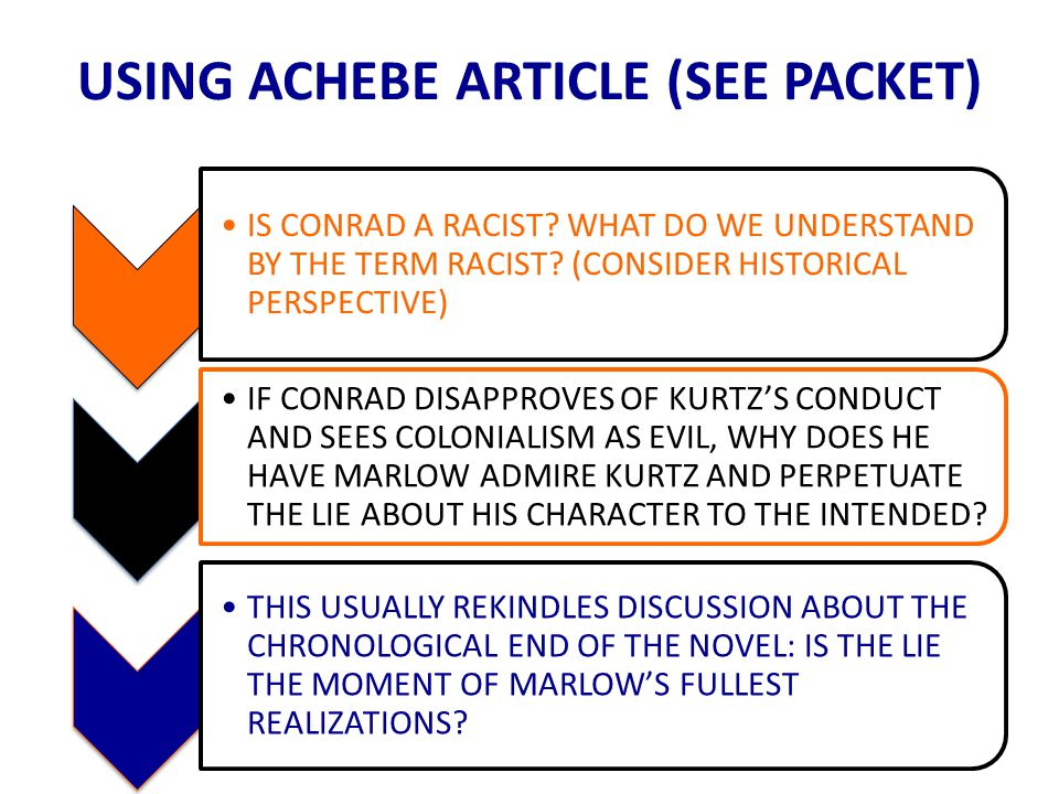 USING ACHEBE ARTICLE (SEE PACKET) IS CONRAD A RACIST.