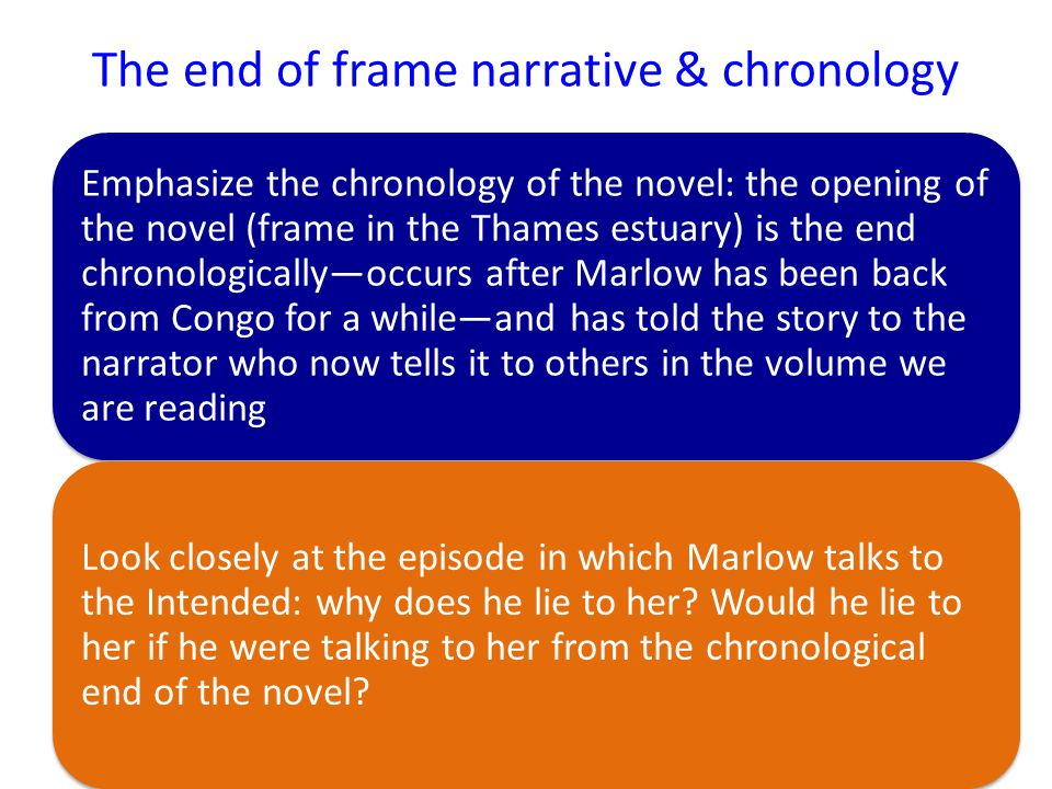 The end of frame narrative & chronology Emphasize the chronology of the novel: the opening of the novel (frame in the Thames estuary) is the end chronologically—occurs after Marlow has been back from Congo for a while—and has told the story to the narrator who now tells it to others in the volume we are reading Look closely at the episode in which Marlow talks to the Intended: why does he lie to her.