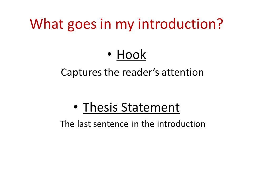 What goes in my introduction.