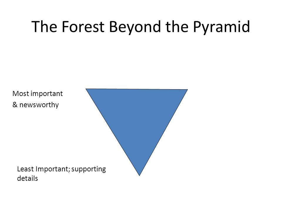 The Forest Beyond the Pyramid Most important & newsworthy Least Important; supporting details