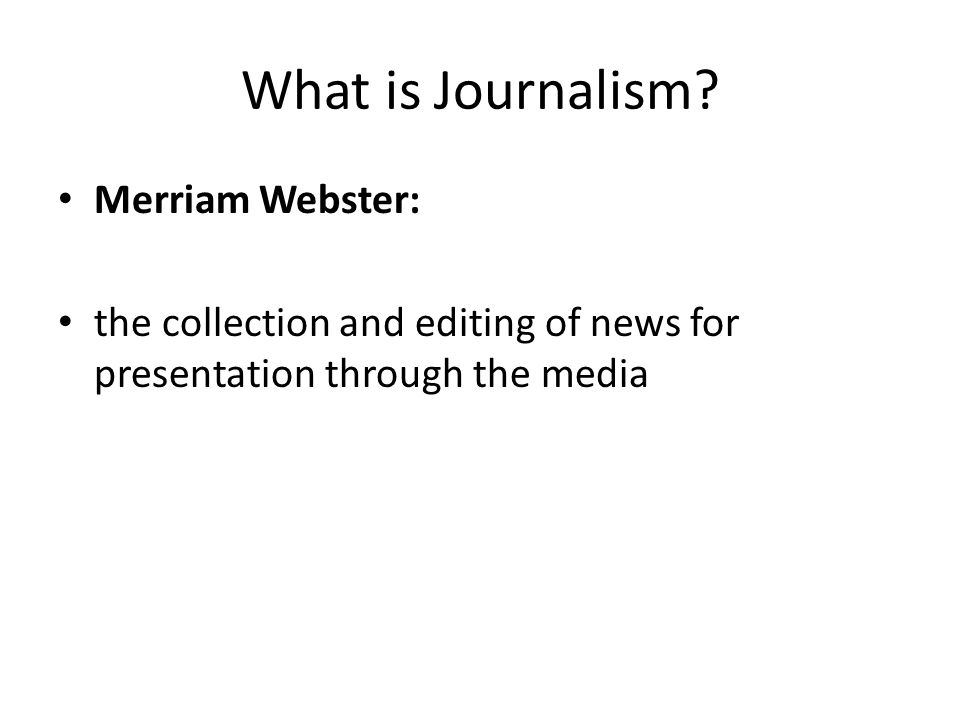 What is Journalism.