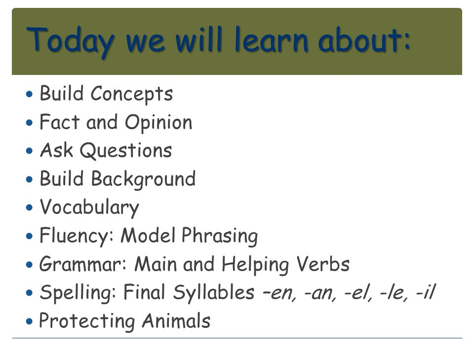 Today we will learn about: Build Concepts Fact and Opinion Ask Questions Build Background Vocabulary Fluency: Model Phrasing Grammar: Main and Helping