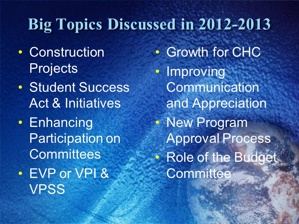 Big Topics Discussed in 2012-2013 Construction Projects Student Success Act & Initiatives Enhancing Participation on Committees EVP or VPI & VPSS Grow