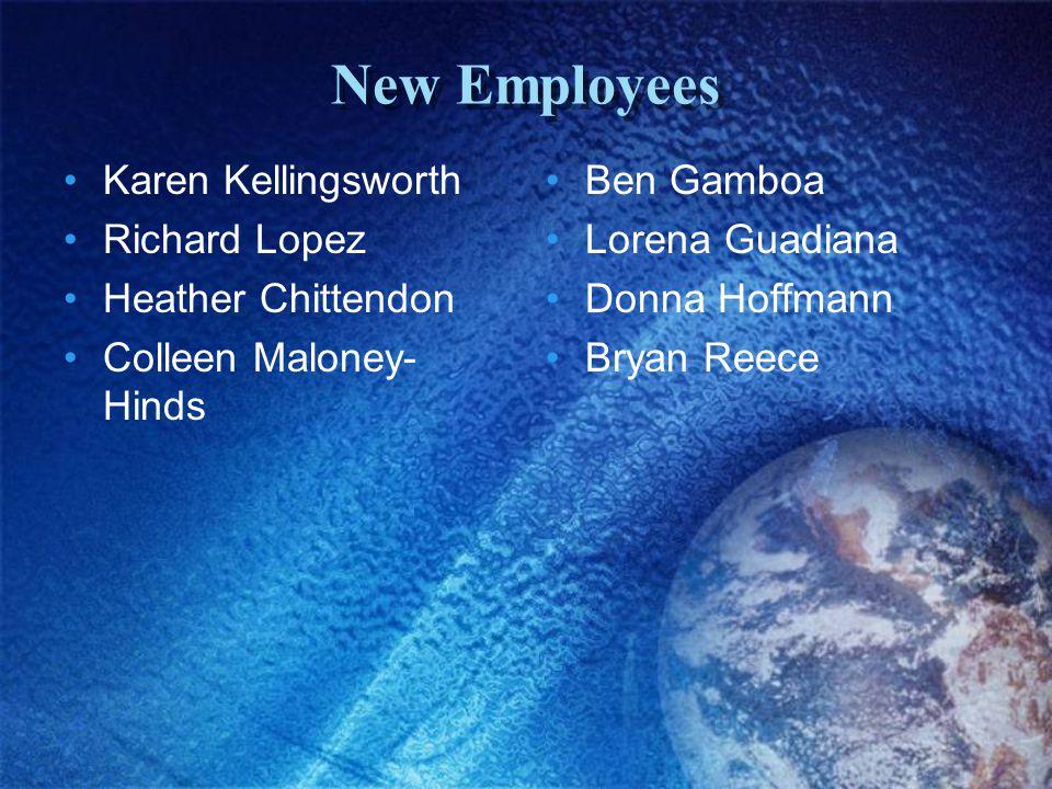 New Employees Karen Kellingsworth Richard Lopez Heather Chittendon Colleen Maloney- Hinds Ben Gamboa Lorena Guadiana Donna Hoffmann Bryan Reece