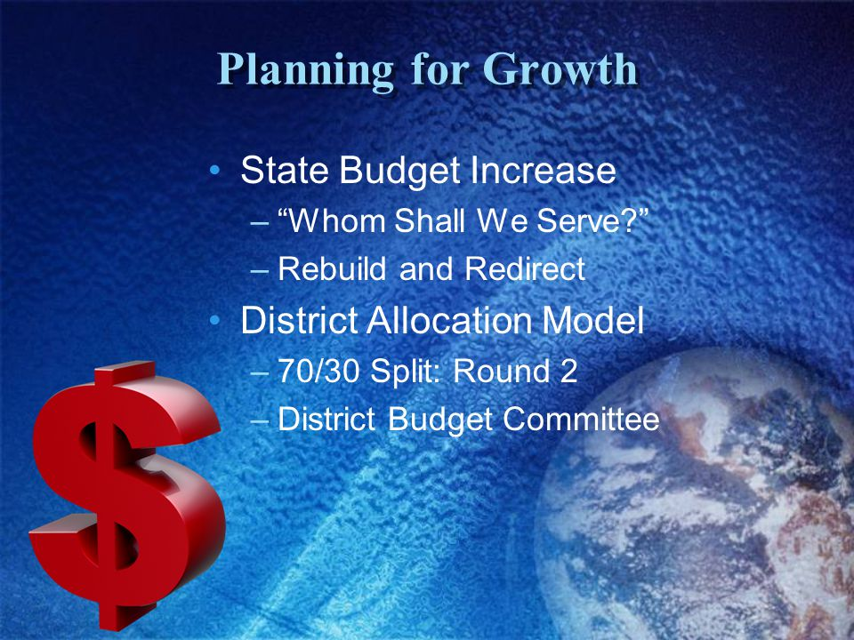 Planning for Growth State Budget Increase – Whom Shall We Serve –Rebuild and Redirect District Allocation Model –70/30 Split: Round 2 –District Budget Committee
