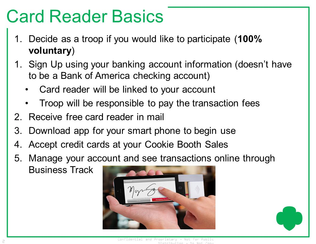 Confidential and Proprietary - Not for Public Distribution - Do Not Copy 2 Card Reader Basics 1.Decide as a troop if you would like to participate (10