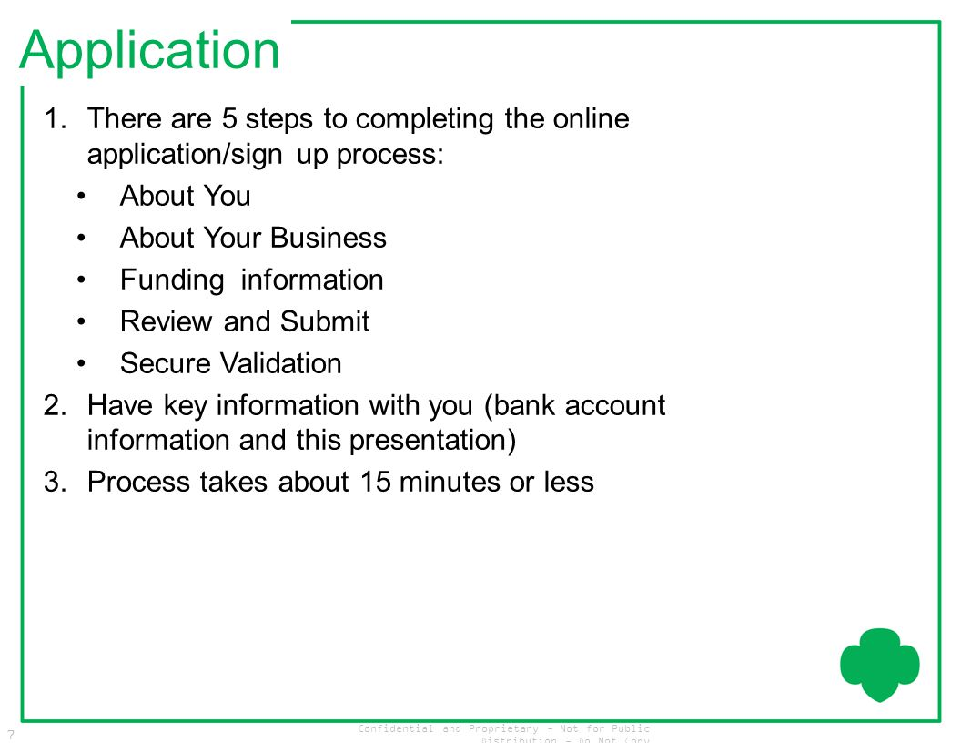 Confidential and Proprietary - Not for Public Distribution - Do Not Copy 7 Application 1.There are 5 steps to completing the online application/sign u