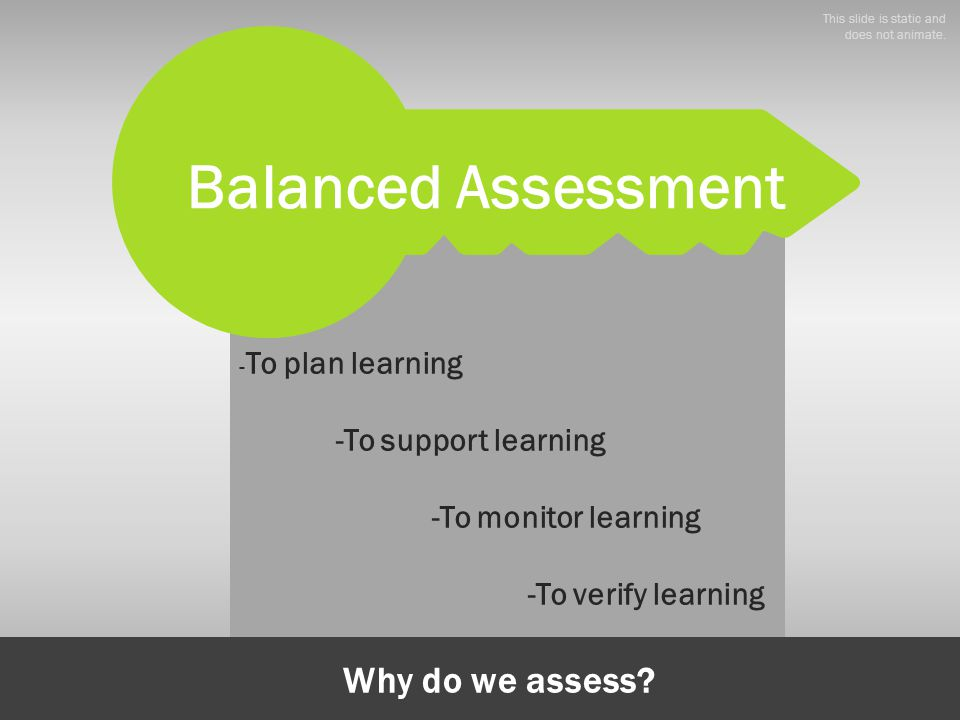 - To plan learning -To support learning -To monitor learning -To verify learning Why do we assess? Balanced Assessment This slide is static and does n