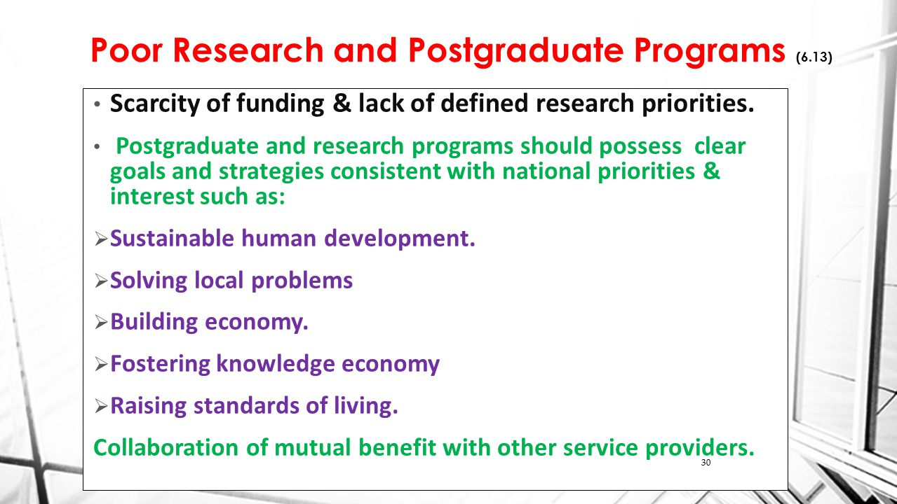 Poor Research and Postgraduate Programs (6.13) Scarcity of funding & lack of defined research priorities.