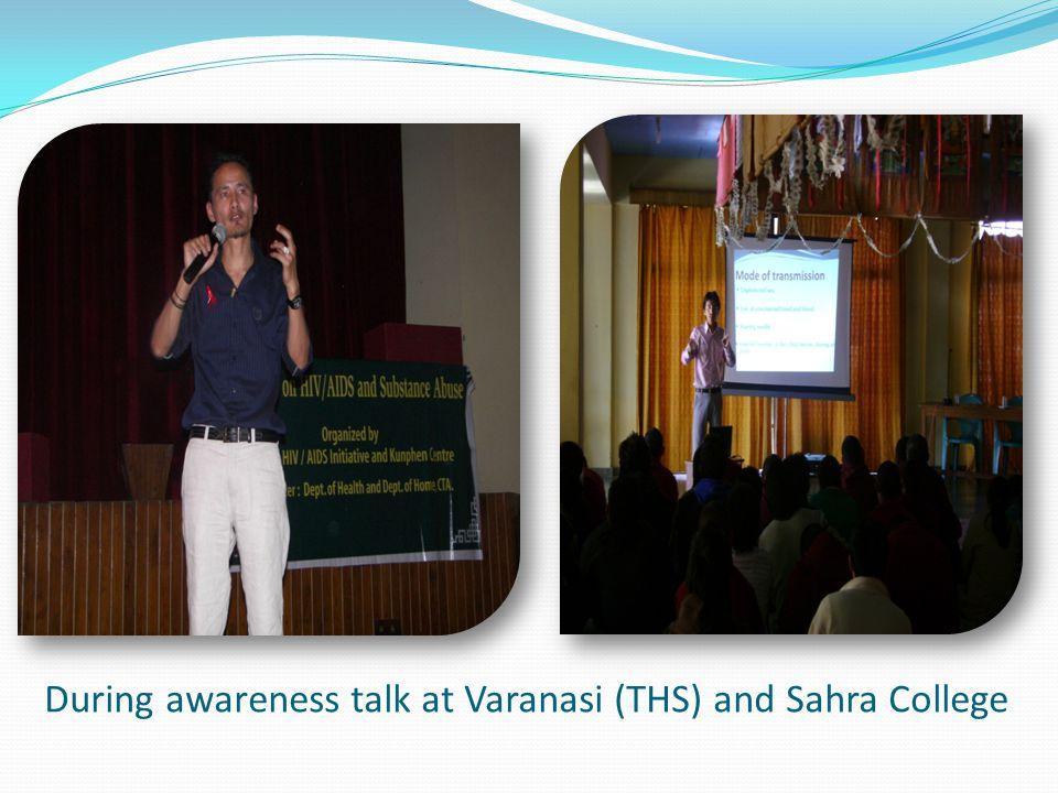 During awareness talk at Varanasi (THS) and Sahra College