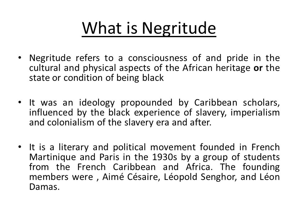 Views of Negritude The founders of Negritude were in part inspired by their encounters with members of the Harlem Renaissance, many of whom were living in France at the time to escape racism and segregation in the United States.