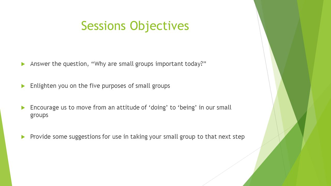 Sessions Objectives  Answer the question, Why are small groups important today  Enlighten you on the five purposes of small groups  Encourage us to move from an attitude of 'doing' to 'being' in our small groups  Provide some suggestions for use in taking your small group to that next step