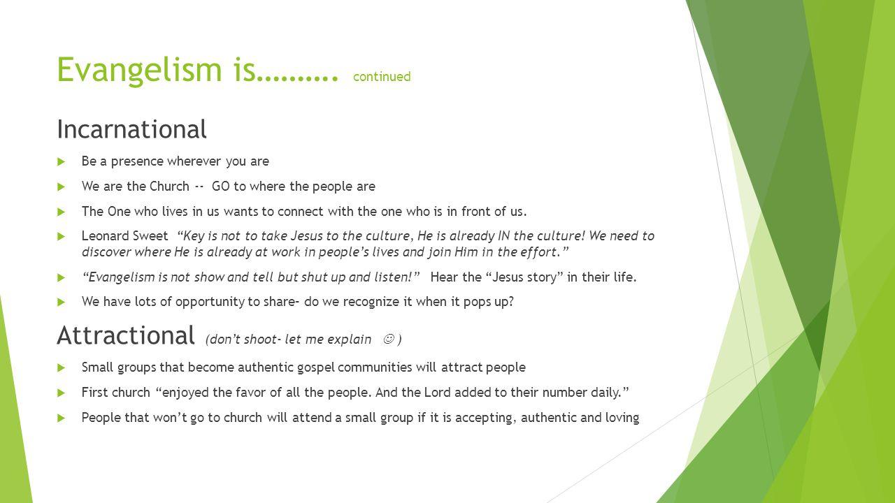 Evangelism is……….