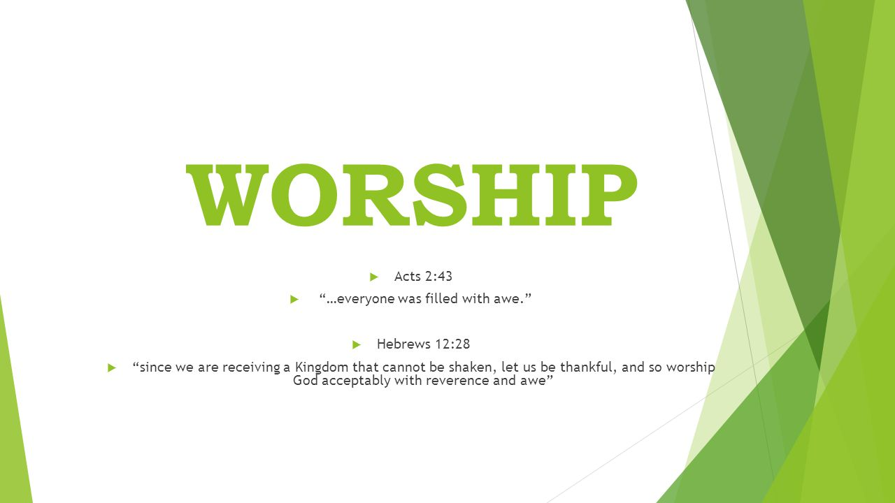 WORSHIP  Acts 2:43  …everyone was filled with awe.  Hebrews 12:28  since we are receiving a Kingdom that cannot be shaken, let us be thankful, and so worship God acceptably with reverence and awe