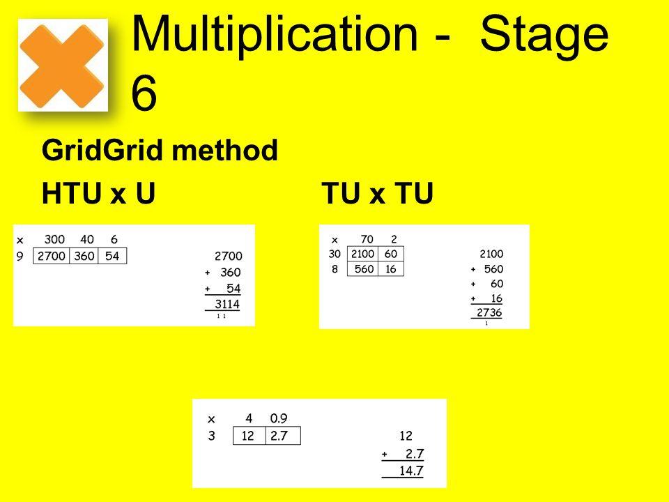 Multiplication - Stage 6 GridGrid method HTU x U TU x TU