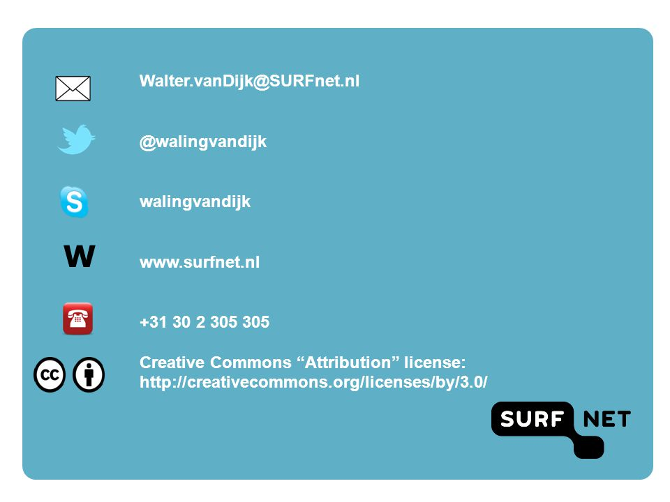 W Walter.vanDijk@SURFnet.nl @walingvandijk walingvandijk www.surfnet.nl +31 30 2 305 305 Creative Commons Attribution license: http://creativecommons.org/licenses/by/3.0/