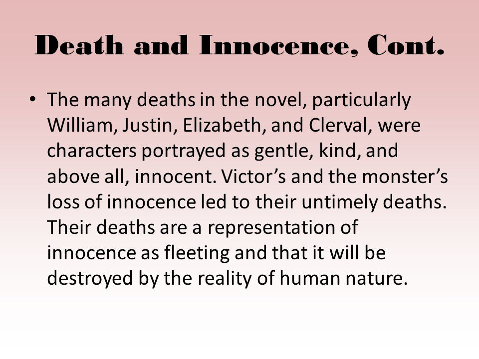 Death and Innocence, Cont.