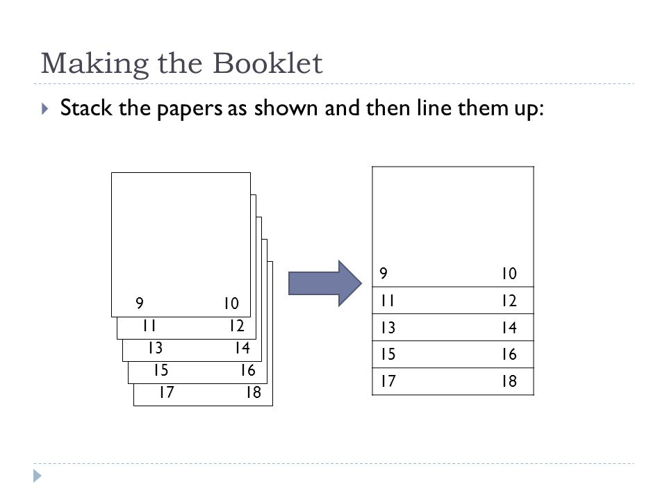Making the Booklet  Stack the papers as shown and then line them up: 1718 1516 1314 1112 910 1112 1314 1516 1718