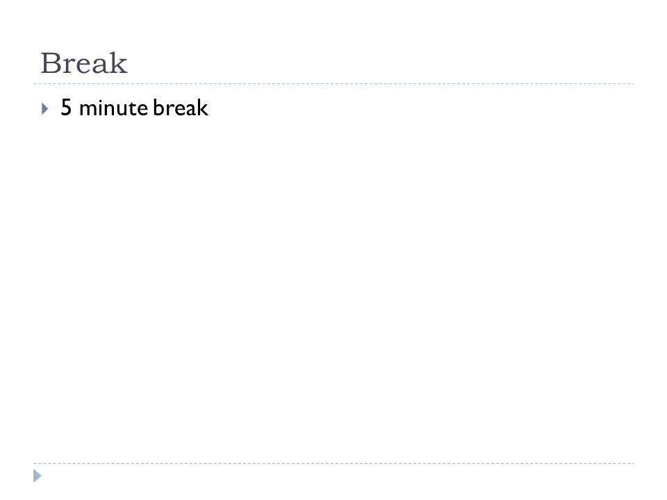 Break  5 minute break