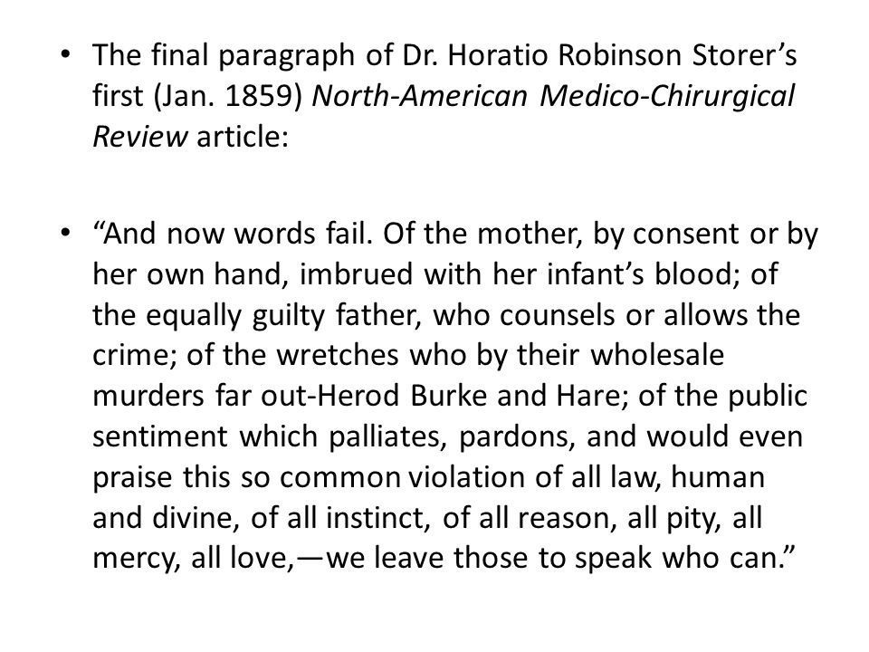 The final paragraph of Dr. Horatio Robinson Storer's first (Jan.