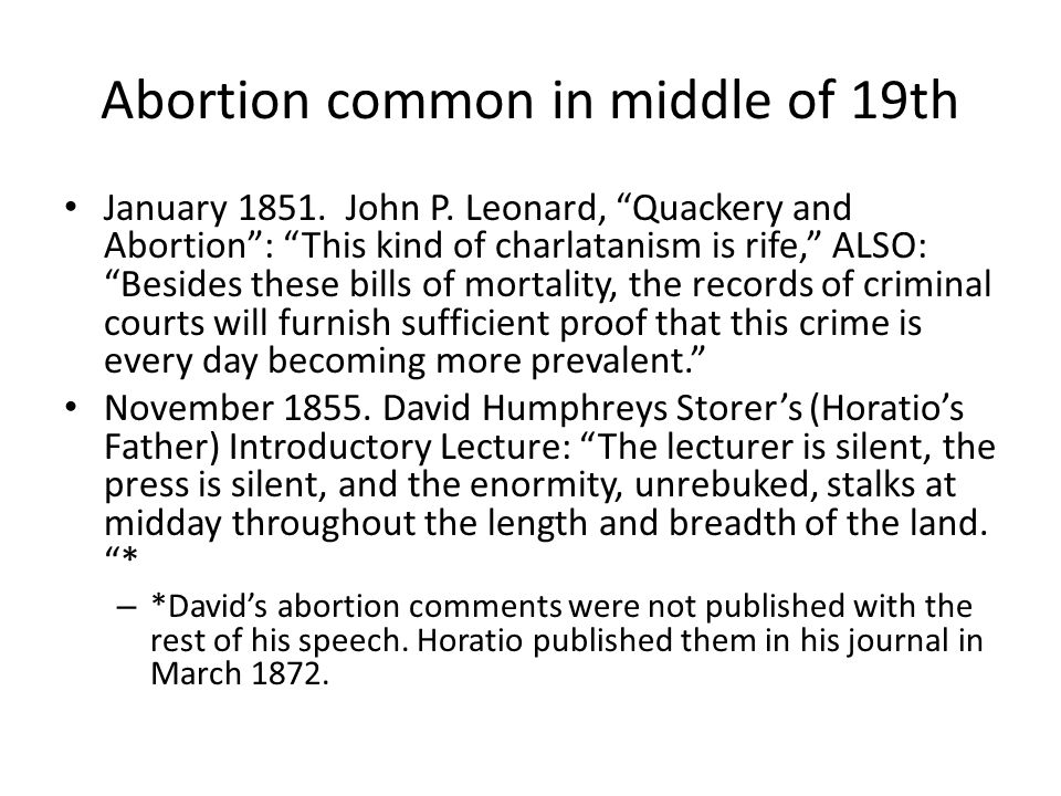 Abortion common in middle of 19th January 1851. John P.
