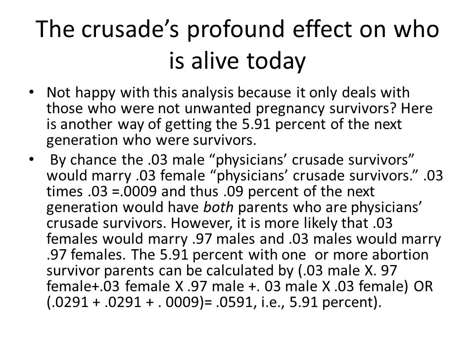 The crusade's profound effect on who is alive today Not happy with this analysis because it only deals with those who were not unwanted pregnancy survivors.