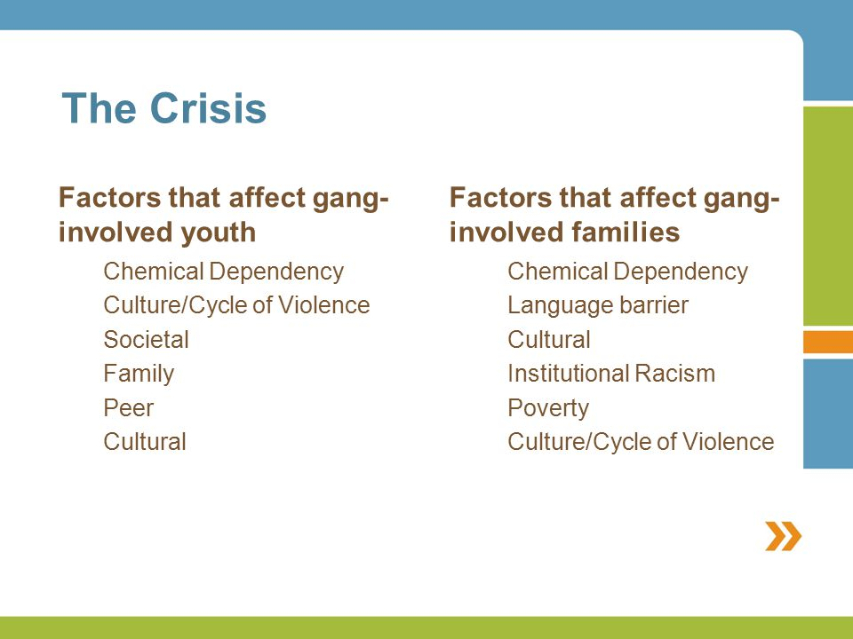The Crisis Factors that affect gang- involved youth Factors that affect gang- involved families Chemical Dependency Culture/Cycle of Violence Societal