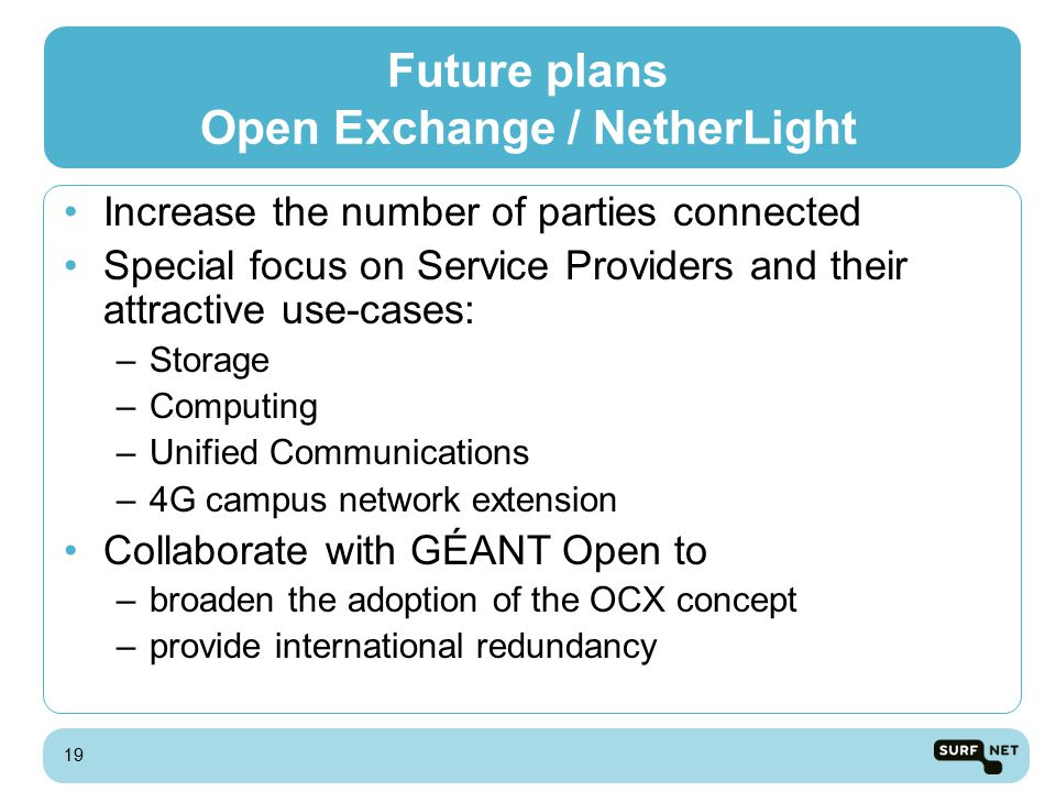 Future plans Open Exchange / NetherLight Increase the number of parties connected Special focus on Service Providers and their attractive use-cases: –Storage –Computing –Unified Communications –4G campus network extension Collaborate with GÉANT Open to –broaden the adoption of the OCX concept –provide international redundancy 19