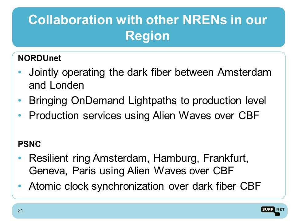 Collaboration with other NRENs in our Region NORDUnet Jointly operating the dark fiber between Amsterdam and Londen Bringing OnDemand Lightpaths to production level Production services using Alien Waves over CBF PSNC Resilient ring Amsterdam, Hamburg, Frankfurt, Geneva, Paris using Alien Waves over CBF Atomic clock synchronization over dark fiber CBF 21