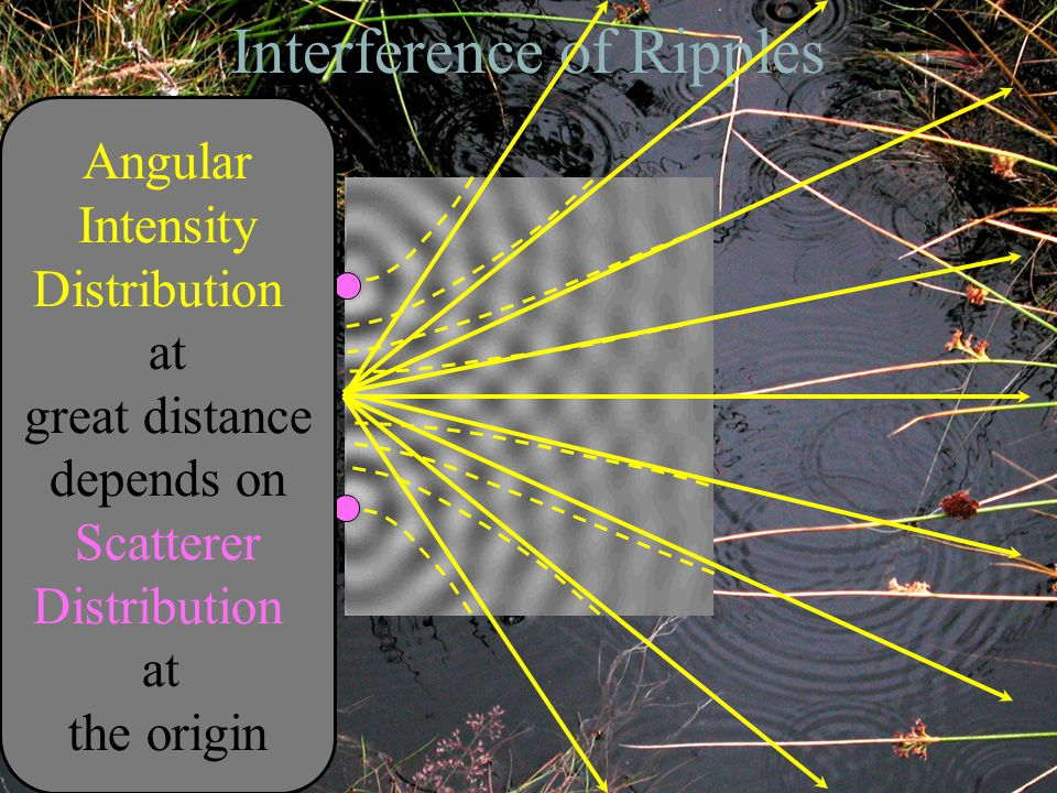 Interference of Ripples Angular Intensity Distribution at great distance depends on Scatterer Distribution at the origin