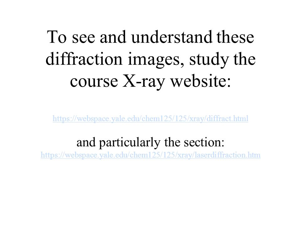 To see and understand these diffraction images, study the course X-ray website: https://webspace.yale.edu/chem125/125/xray/diffract.html and particula
