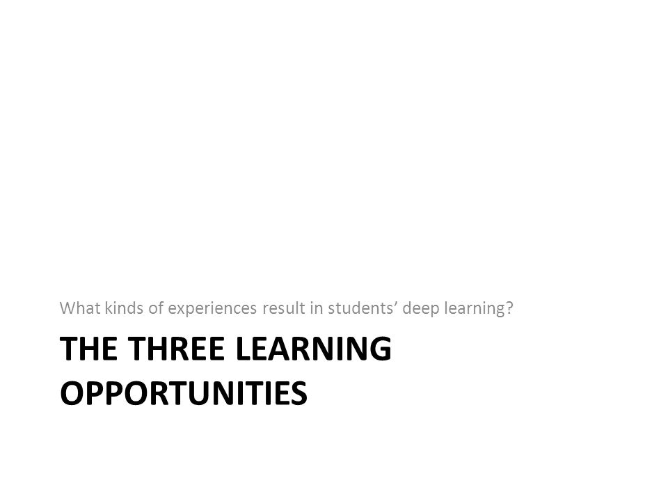 THE THREE LEARNING OPPORTUNITIES What kinds of experiences result in students' deep learning?