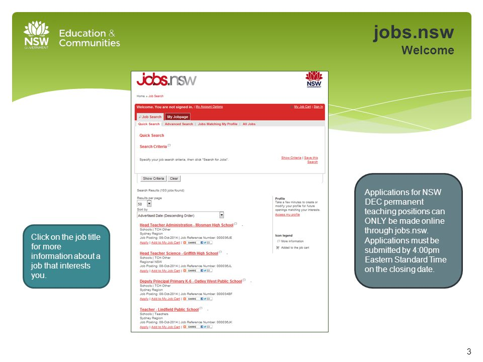 jobs.nsw Welcome Click on the job title for more information about a job that interests you.