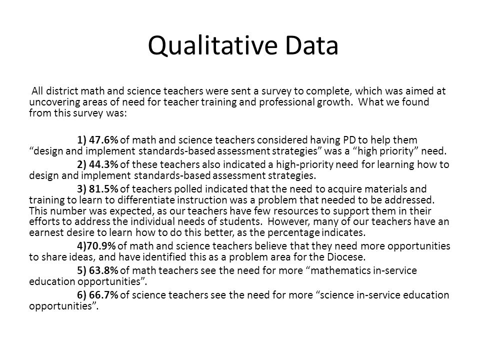 Qualitative Data All district math and science teachers were sent a survey to complete, which was aimed at uncovering areas of need for teacher training and professional growth.