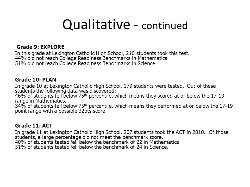 Qualitative - continued Grade 9: EXPLORE In this grade at Lexington Catholic High School, 210 students took this test.